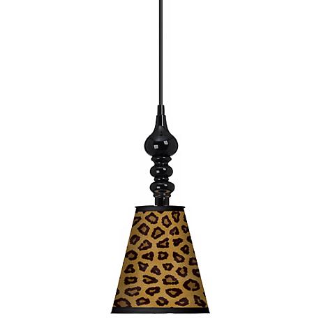 "Safari Cheetah Giclee 7 1/2"" Wide Black Mini Pendant"