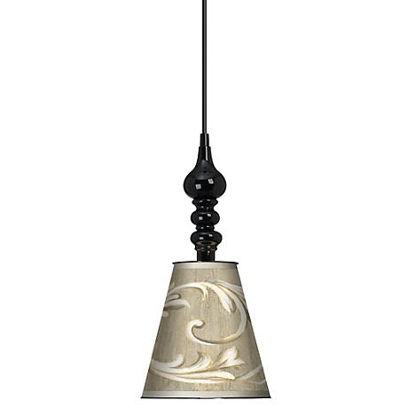 "Laurel Court Black Finish 7 1/2"" Wide Mini Pendant"