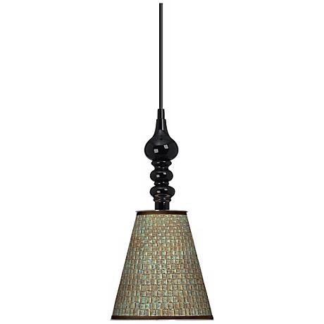 "Interweave Patina Giclee 7 1/2"" Wide Black Mini Pendant"