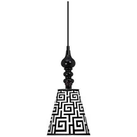 "Greek Key Giclee 7 1/2"" Wide Black Mini Pendant"