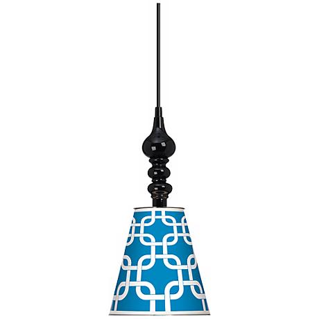 "Blue Lattice Giclee 7 1/2"" Wide Black Mini Pendant"
