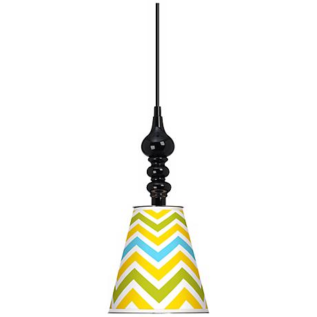 "Citrus Zig Zag Giclee 7 1/2"" Wide Black Mini Pendant"