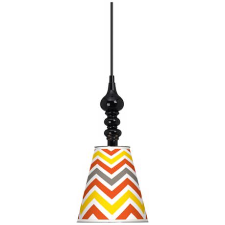 "Flame Zig Zag Giclee 7 1/2"" Wide Black Mini Pendant"