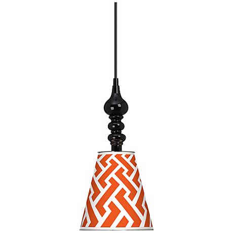 "Red Brick Weave Giclee 7 1/2"" Wide Black Mini Pendant"