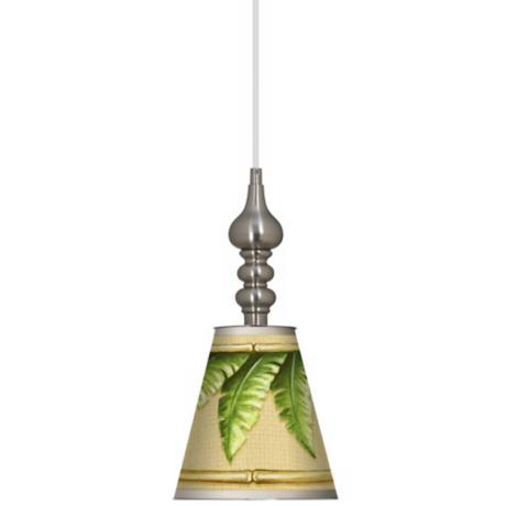 "Royal Palm 7 1/2"" Wide Brushed Steel Mini Pendant"