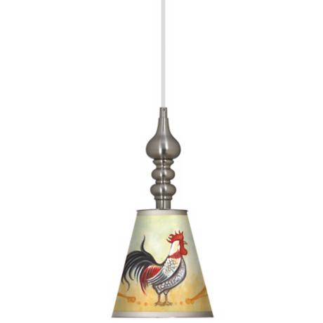 "Galik Rooster 7 1/2"" Wide Brushed Steel Mini Pendant"