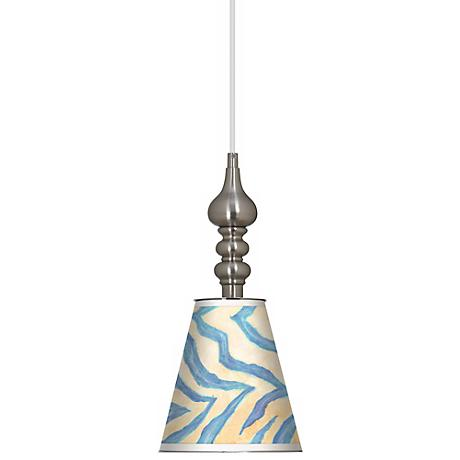 "Blue Zebra 7 1/2"" Wide Brushed Steel Mini Pendant"