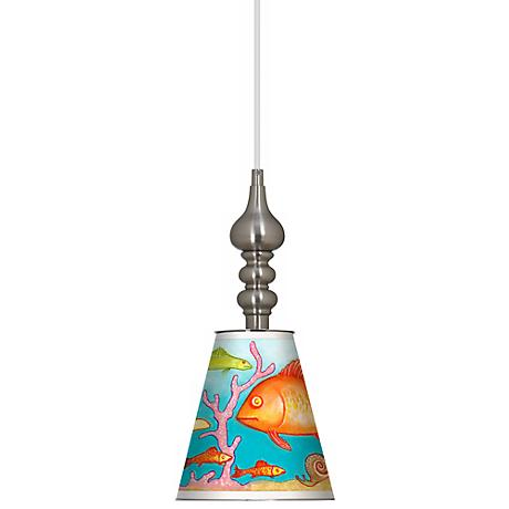 "Tropical 7 1/2"" Wide Brushed Steel Mini Pendant"