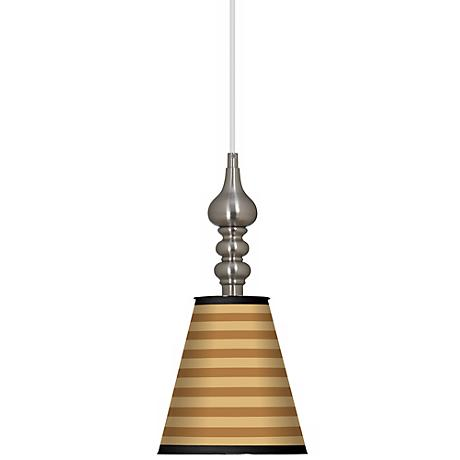 "Butterscotch Parallels 7 1/2"" Wide Brushed Steel Pendant"