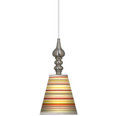 "Stacy Garcia Lemongrass Stripe 7 1/2"" Brushed Steel Pendant"