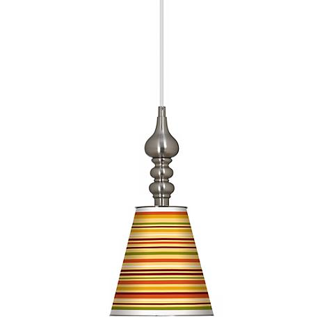 "Stacy Garcia Harvest Stripe 7 1/2"" W Brushed Steel Pendant"