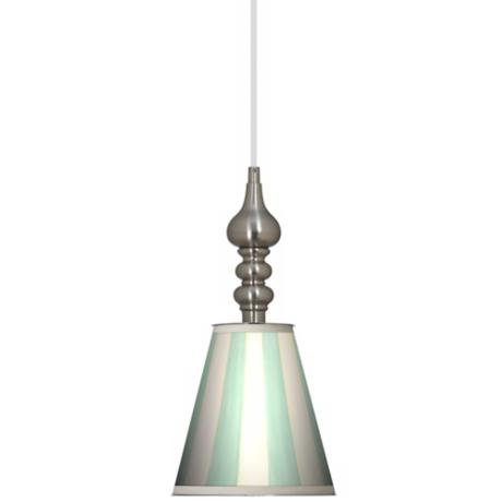 "Seaside Stripe Green 7 1/2"" Wide Brushed Steel Mini Pendant"