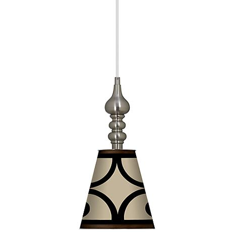 "Cambria Scroll 7 1/2"" Wide Brushed Steel Mini Pendant"