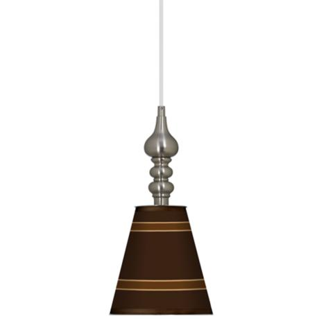 "Saratoga Stripe 7 1/2"" Wide Brushed Steel Mini Pendant"