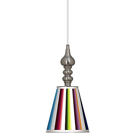 "Technocolors 7 1/2"" Wide Brushed Steel Mini Pendant"