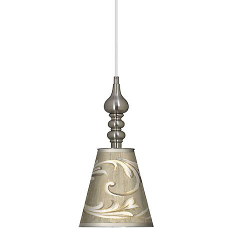 "Laurel Court Brushed Steel Finish 7 1/2"" Wide Mini Pendant"