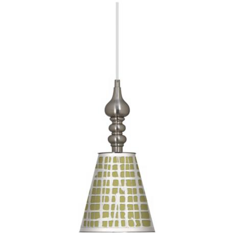 "Ecru Screen Linen 7 1/2"" Wide Brushed Steel Mini Pendant"