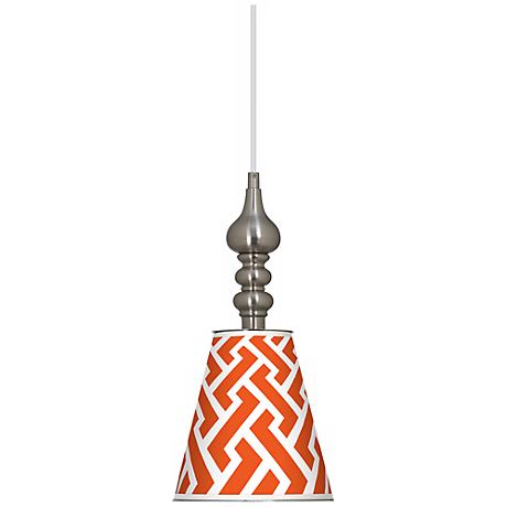 "Red Brick Weave 7 1/2"" Wide Brushed Steel Mini Pendant"