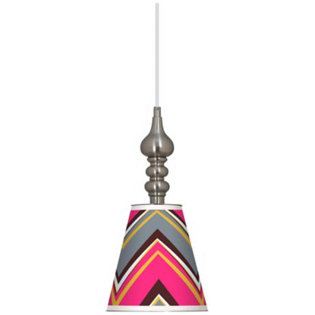 "Stacy Garcia Chevron Pride Pink 7 1/2""W Steel Mini Pendant"