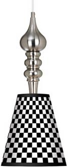"Checkered Black 9 1/4"" Wide Brushed Steel Pendant Light"