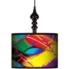 "Colors In Motion (Light) 13 1/2"" Wide Black Swag Chandelier"