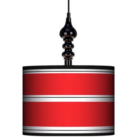 "Red Stripes 13 1/2"" Wide Black Swag Chandelier"
