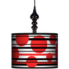 "Red Balls 13 1/2"" Wide Black Swag Chandelier"