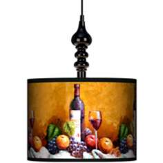 "Wine And Fruit 13 1/2"" Wide Black Swag Chandelier"