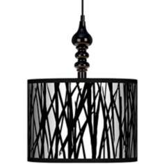 "Black Jagged Stripes 13 1/2"" Wide Black Swag Chandelier"