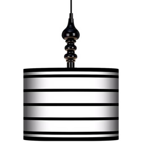 "Black Parallels On White 13 1/2"" Wide Black Swag Chandelier"