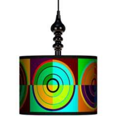 "Circle Parade 13 1/2"" Wide Black Swag Chandelier"