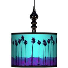 "Palm Tree Haze 13 1/2"" Wide Black Swag Chandelier"