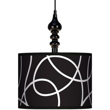 "Abstract 13 1/2"" Wide Black Swag Chandelier"
