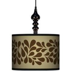 "Brown Splash On Tan 13 1/2"" Wide Black Swag Chandelier"