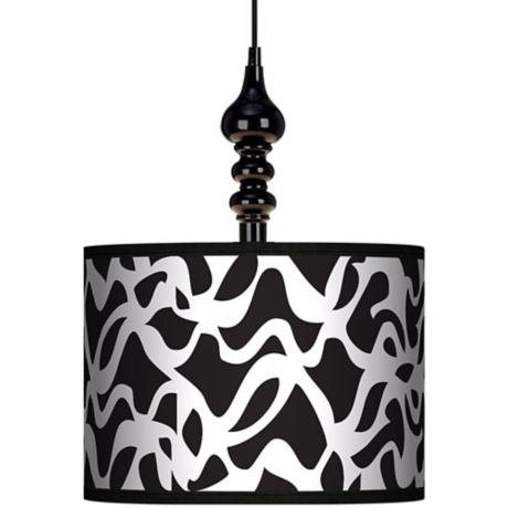 "White Ribbon 13 1/2"" Wide Black Swag Chandelier"