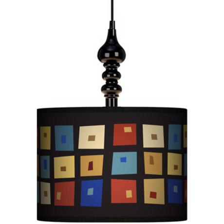 "Palette Squares 13 1/2"" Wide Black Swag Chandelier"