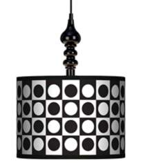 "Black/White Dotted Square 13 1/2"" Wide Black Swag Chandelier"