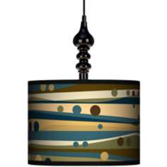 "Dots & Waves 13 1/2"" Wide Black Swag Chandelier"