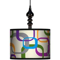 "Retro Square Scramble 13 1/2"" Wide Black Swag Chandelier"