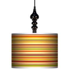 "Stacy Garcia Harvest Stripe 13 1/2"" Black Swag Chandelier"