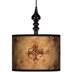 "Estate Nutmeg 13 1/2"" Wide Black Swag Chandelier"