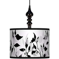 "Three Tone Leaves 13 1/2"" Wide Black Swag Chandelier"