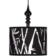 "Night Bamboo 13 1/2"" Wide Black Swag Chandelier"
