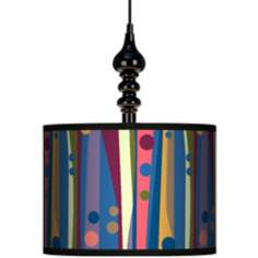"Retro Dots Vertical 13 1/2"" Wide Black Swag Chandelier"
