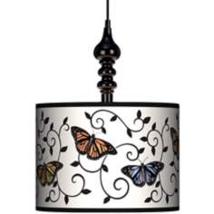 "Butterfly Scroll 13 1/2"" Wide Black Swag Chandelier"