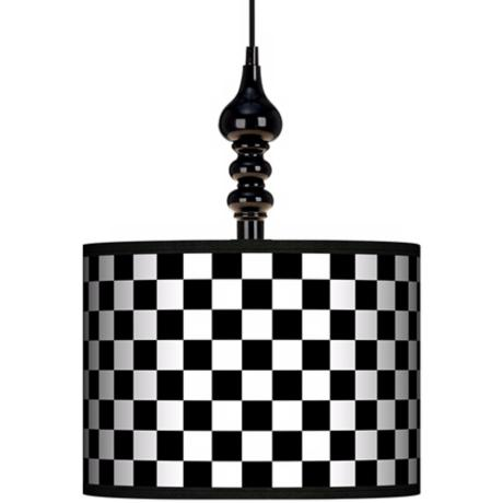 "Checkered Black 13 1/2"" Wide Black Swag Chandelier"
