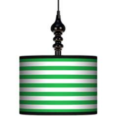 "Green Horizontal Stripe 13 1/2"" Wide Black Swag Chandelier"