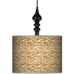 "Seagrass Giclee 13 1/2"" Wide Black Swag Chandelier"