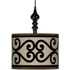 "Cambria Scroll 13 1/2"" Wide Black Swag Chandelier"