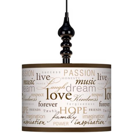 "Positivity 13 1/2"" Wide Black Swag Chandelier"